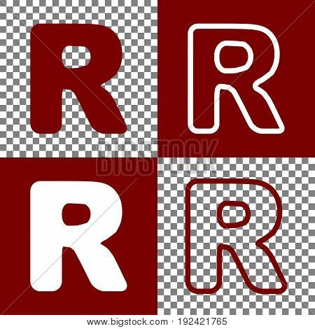 Letter R sign design template element. Vector. Bordo and white icons and line icons on chess board with transparent background.
