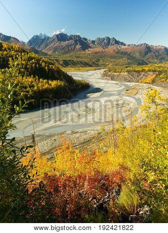 Mantanuska River Chugach Mountain Range Alaska North America