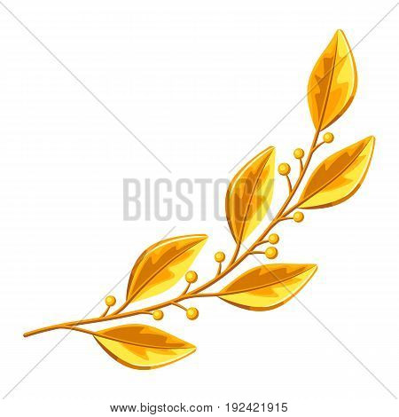 Realistic gold laurel branch. Decorative element for design.