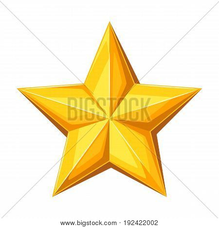 Realistic gold star. Illustration on white background.