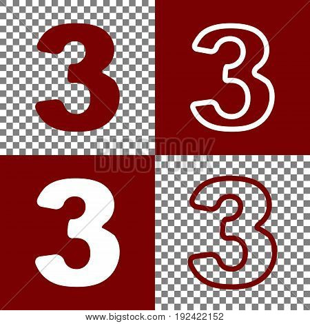 Number 3 sign design template element. Vector. Bordo and white icons and line icons on chess board with transparent background.