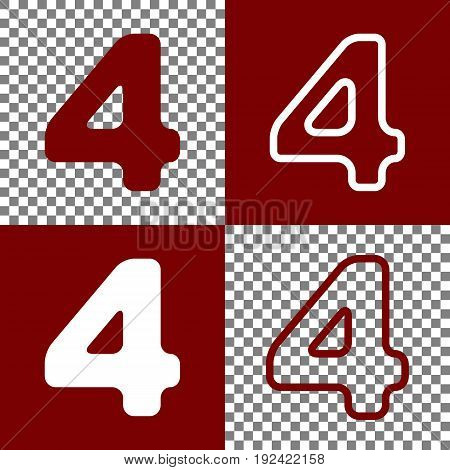 Number 4 sign design template element. Vector. Bordo and white icons and line icons on chess board with transparent background.