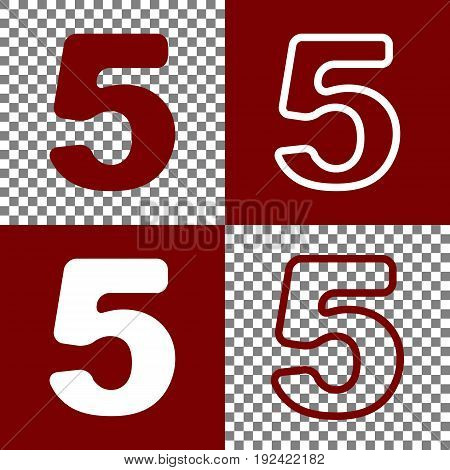 Number 5 sign design template element. Vector. Bordo and white icons and line icons on chess board with transparent background.