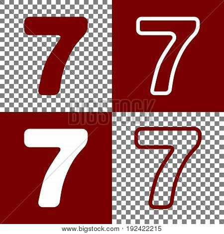 Number 7 sign design template element. Vector. Bordo and white icons and line icons on chess board with transparent background.