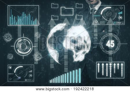 Businessman with abstract business touch screen and arrows. Technology concept. Double exposure. 3D Rendering