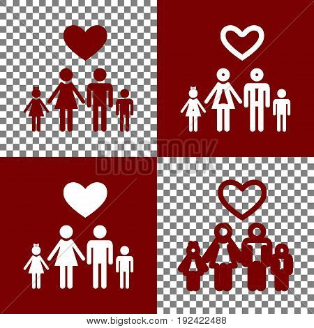 Family symbol with heart. Husband and wife are kept children's hands. Love. Vector. Bordo and white icons and line icons on chess board with transparent background.