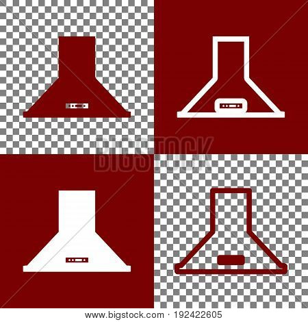 Exhaust hood. Kitchen ventilation sign. Vector. Bordo and white icons and line icons on chess board with transparent background.