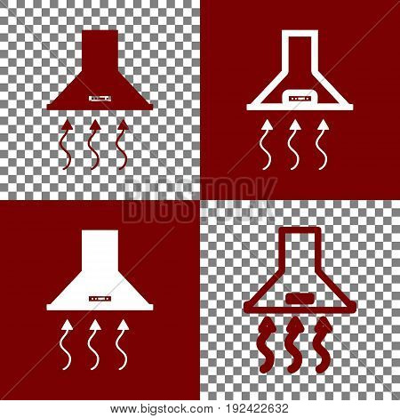 Exhaust hood. Range hood. Kitchen ventilation sign. Vector. Bordo and white icons and line icons on chess board with transparent background.