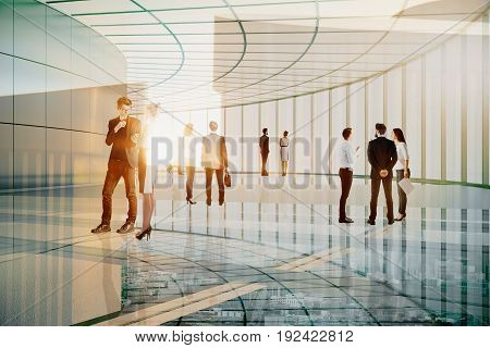 Businessmen and women communicating in transparent glass building. Communication concept. Double exposure