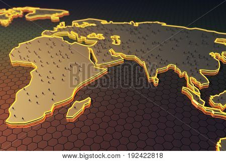 Abstract map with small people/businessmen figures on honeycomb/hexagon patterned background. Globalization concept. 3D Rendering