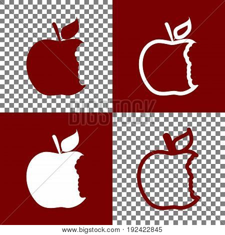 Bite apple sign. Vector. Bordo and white icons and line icons on chess board with transparent background.