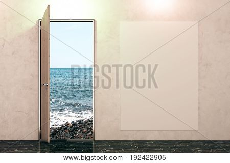 Open door with beach view in concrete interior with empty banner on wall. Sucess concept. Mock up 3D Rendering