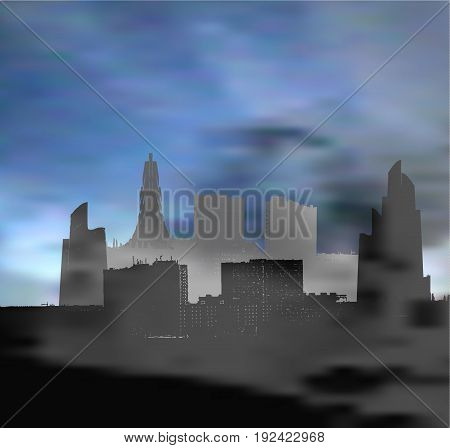 Landscape with panoramic city infested with smog. Dark landscape with skyscrapers clouds and polluted air