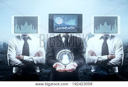 Tablet with business charts headed businessmen holding hr icon on city background. Hiring concept