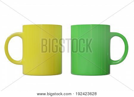 Two cups, yellow and green, isolated on white background. 3d image