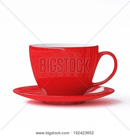 Red cup with saucer on white background. 3d illustration