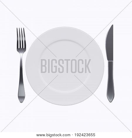 Empty white plate with fork and knife, isolated on white background. 3d image