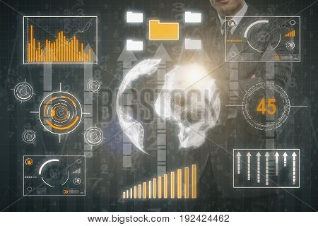 Businessman with abstract business touch screen and arrows. Data concept. Double exposure. 3D Rendering