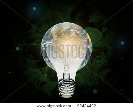 Abstract globe lamp on dark background. Idea concept. 3D Rendering
