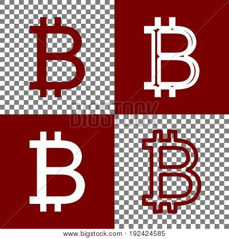 Bitcoin sign. Vector. Bordo and white icons and line icons on chess board with transparent background.