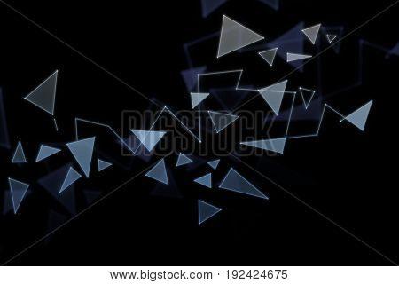 Polygonal broken glass pattern on dark texture. 3D Rendering