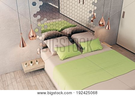 Futuristic bedroom interior with furniture honeycomb patterned mirror and other creative items. 3D Rendering