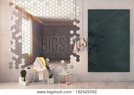 Front view of room with honeycomb patterned mirror chair decorative plants chalkboard on wall and other items. Mock up 3D Rendering