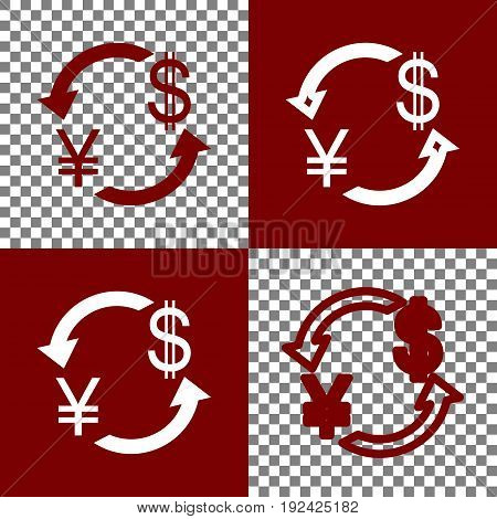 Currency exchange sign. Japan Yen and US Dollar. Vector. Bordo and white icons and line icons on chess board with transparent background.