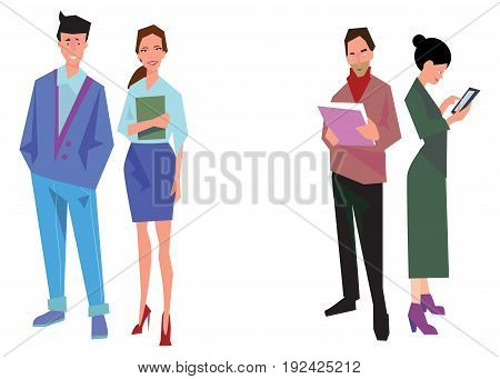 Four office workers employees managers. Business people stand. Isolated on white. Business Icons. Business design Vector