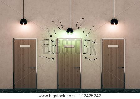 Three wooden doors with drawn arrows and illuminated lamps in concrete interior. Direction concept. 3D Rendering