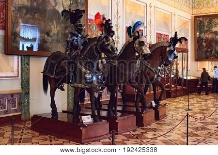 SAINT PETERSBURG, RUSSIA - JAN 07, 2016: Interior of the State Hermitage, a museum of art and culture in Saint Petersburg, Russia. It was founded in 1764 by Catherine the Great