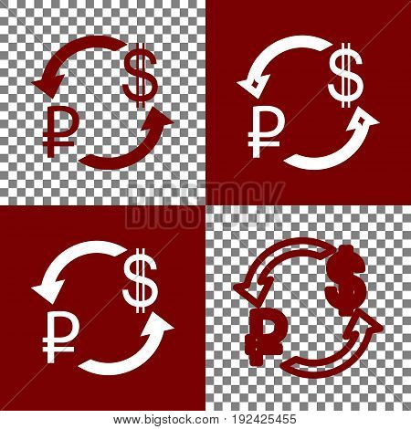 Currency exchange sign. Ruble and US Dollar. Vector. Bordo and white icons and line icons on chess board with transparent background.