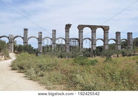 ruins of \queduct on island Levos in Greece