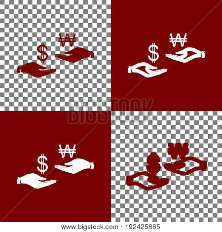Currency exchange from hand to hand. Dollar and South Korea Won. Vector. Bordo and white icons and line icons on chess board with transparent background.