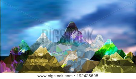Abstract panoramic mountain polygonal landscape with sky and clouds. Blue, brown, green, pink, yellow, purple and gray mountains peaks of crystals and polygons