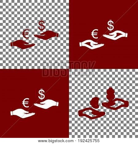 Currency exchange from hand to hand. Euro and Dollar. Vector. Bordo and white icons and line icons on chess board with transparent background.