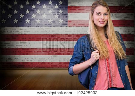 Digital composite of student with American flag background