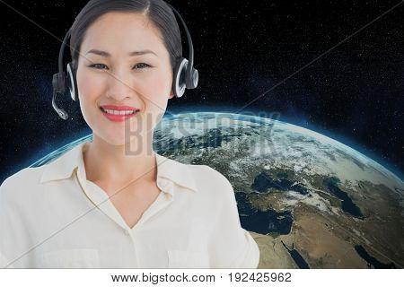 Digital composite of models wearing Head set