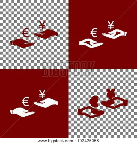 Currency exchange from hand to hand. Euro and Yen. Vector. Bordo and white icons and line icons on chess board with transparent background.