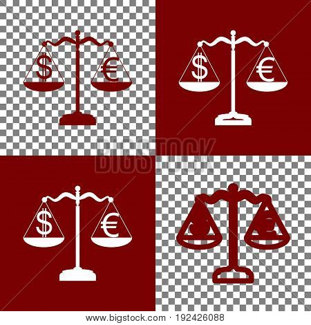 Justice scales with currency exchange sign. Vector. Bordo and white icons and line icons on chess board with transparent background.