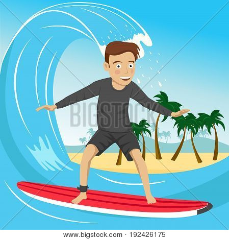 Male surfer riding large blue ocean wave near tropical island with palm trees