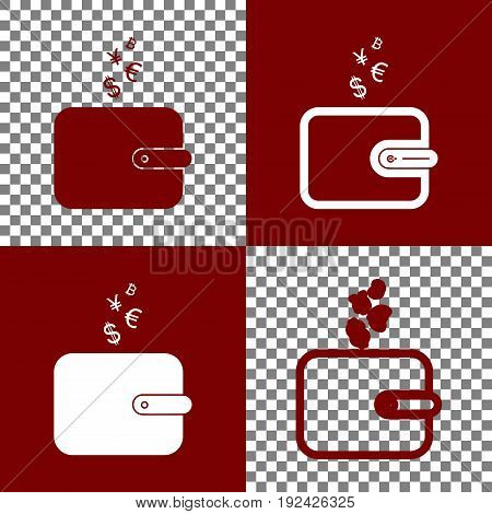 Wallet sign with currency symbols. Vector. Bordo and white icons and line icons on chess board with transparent background.