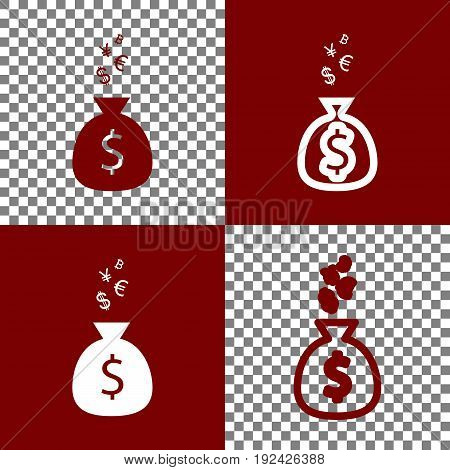Money bag sign with currency symbols. Vector. Bordo and white icons and line icons on chess board with transparent background.