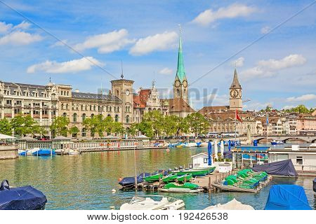 Panorama of historical part of Zurich with famous Fraumunster and St. Peter church on a beautiful summer day Switzerland
