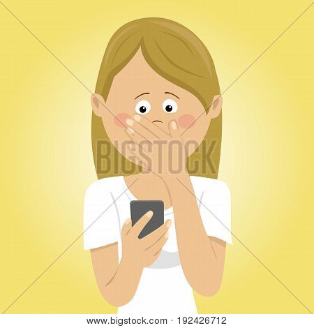 Young worried woman holding mobile phone received bad message covering mouth with her hand. Flat illustration