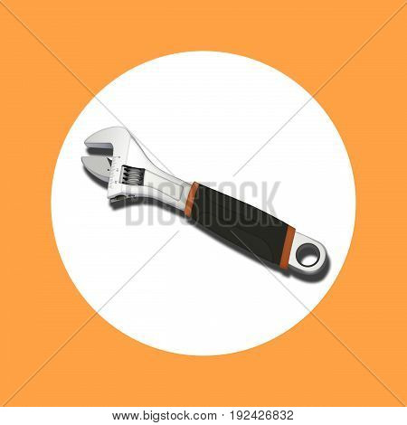 icon adjustable wrench with shadow on background