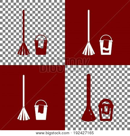 Broom and bucket sign. Vector. Bordo and white icons and line icons on chess board with transparent background.