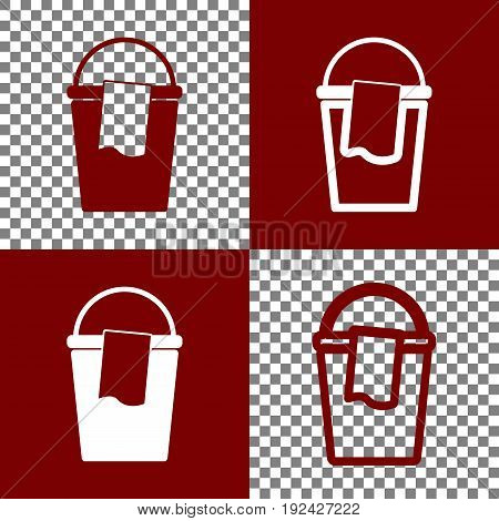 Bucket and a rag sign. Vector. Bordo and white icons and line icons on chess board with transparent background.