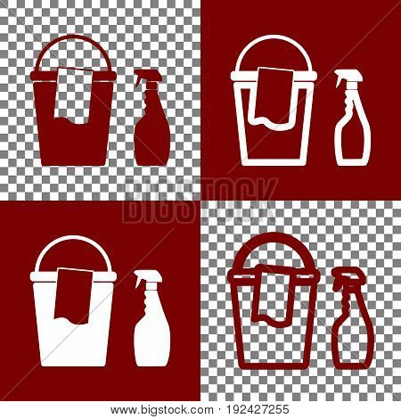 Bucket and a rag with Household chemical bottles. Vector. Bordo and white icons and line icons on chess board with transparent background.