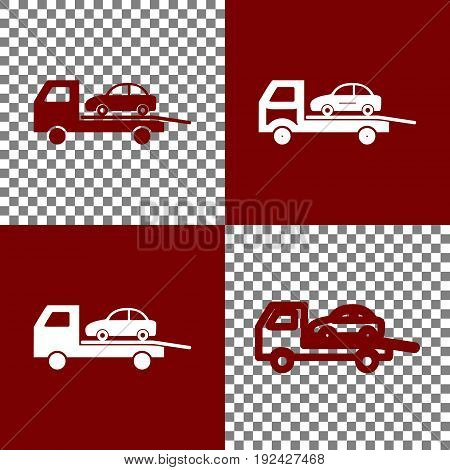 Tow car evacuation sign. Vector. Bordo and white icons and line icons on chess board with transparent background.